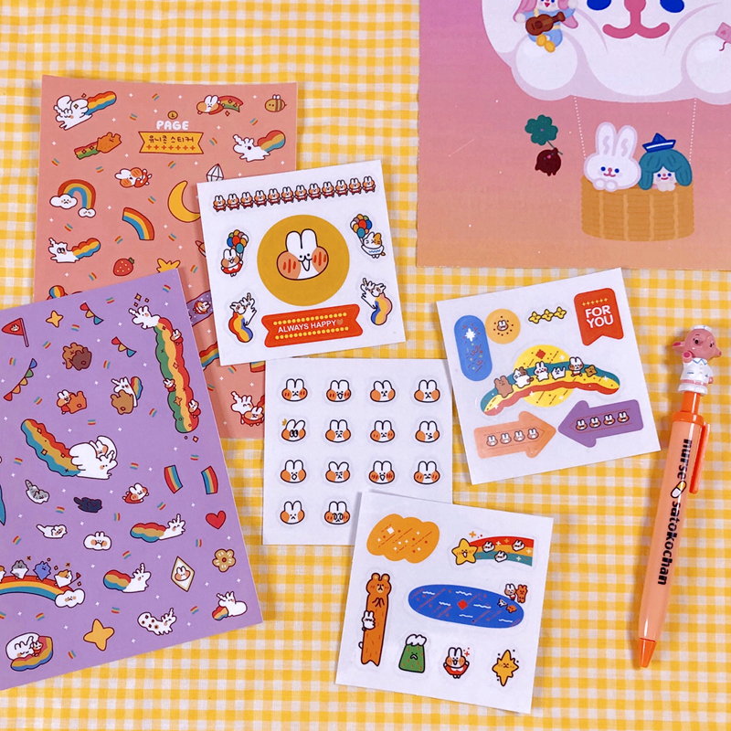 INS Hot Sale Cute Cartoon Rainbow Rabbit Stickers Color Hand Account Decoration Wall Stickers Korean Campus Kawaii Stationery