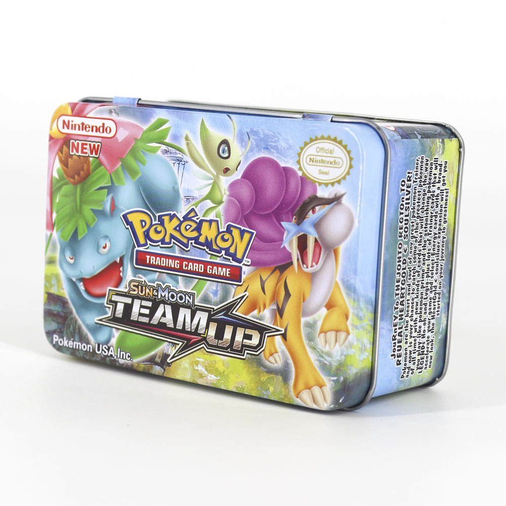 Takara Tomy Pokemon Card MEGA Trainer Energy SUN MOON TEAM UP Collection Board 42pcs Toys Metal Box Flash Card For Kids