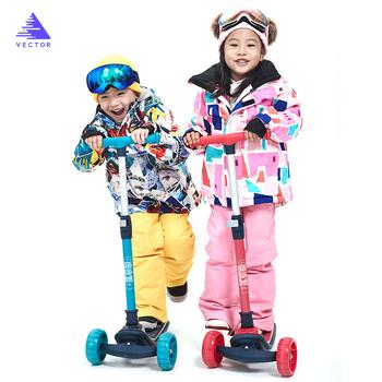 Bardzo gruba ciepła kurtka narciarska dla dzieci syntetyczna kurtka płaszcz śnieg zima na zewnątrz wodoodporna wiatroszczelna chłopiec dziewczyny narciarstwo Snowboard ubrania tanie i dobre opinie VECTOR Dobrze pasuje do rozmiaru wybierz swój normalny rozmiar HXF70030+HXF70034 wodoodporne Drukuj POLIESTER