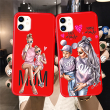 цена Baby Mouse Mama Mouse Super Mom Girl Phone Case For iphone 11 Pro Max X XS Max XR Red Super mother family for iphone 7 6s 8 Plus онлайн в 2017 году