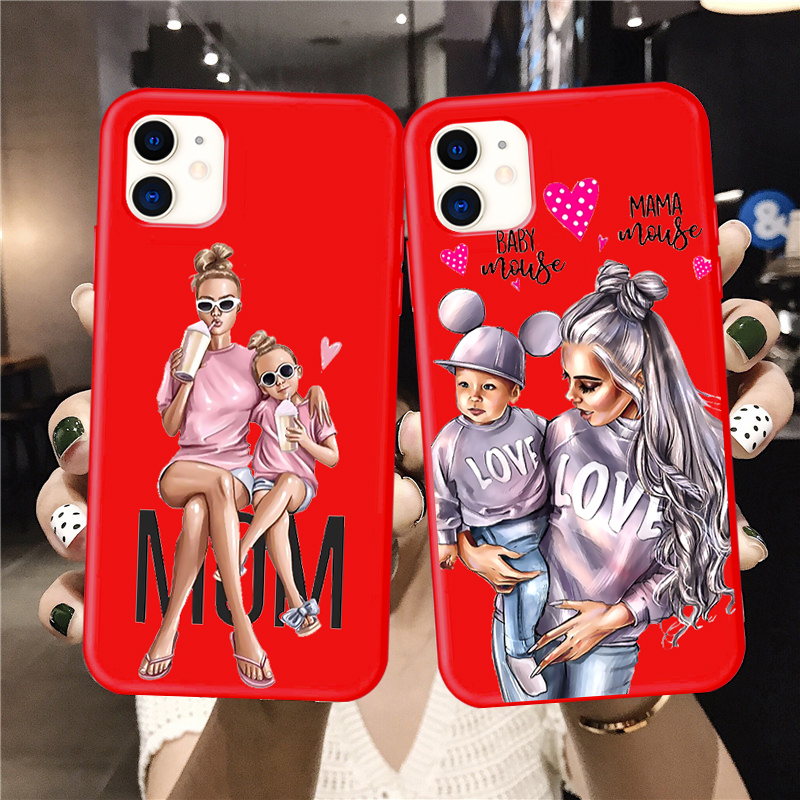 Baby Mouse Mama Mouse Super Mom Girl Phone <font><b>Case</b></font> For <font><b>iphone</b></font> 11 Pro Max X XS Max XR <font><b>Red</b></font> Super mother family for <font><b>iphone</b></font> 7 6s 8 <font><b>Plus</b></font> image