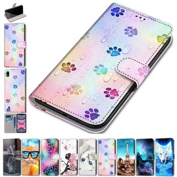 Fashion Flip Leather Phone Wallet For Bag Samsung Galaxy S9Plus S8 S7 S6 S5 Beast Flip Phone Case Floral Stand Cover Capa D08F