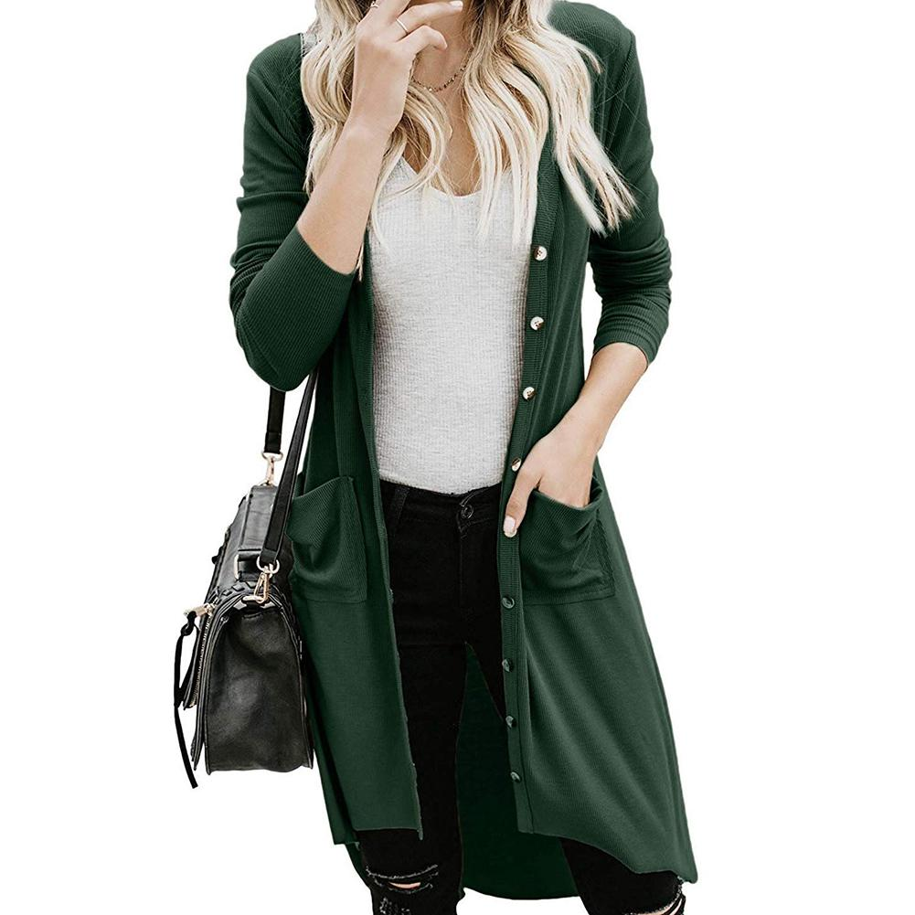 Autumn Women Solid Color Button Pocket Long Sleeve Knitted Cardigan SweaterCoat