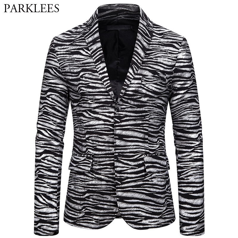 Zebra Print Bronzing Blazer Men Two Button Mens Suit Jackets Casual Slim Fit Coat Men Nightclub Dance Party Men Blazers Jacket