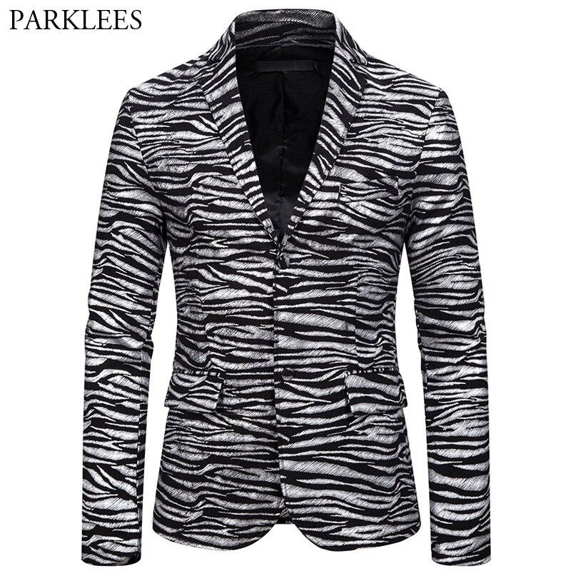 Zebra Print Bronzing Blazer Men Two Button Mens Suit Jackets Casual Slim Fit Coat Men Nightclub Dance Party Men Blazers Jacket