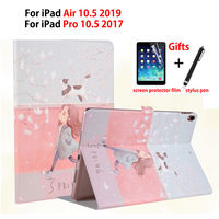 Slim Painted Case For iPad Air 3 10.5 2019 Smart Cover For iPad pro 10.5'' 2017 Funda Soft TPU PU Leather Stnad Shell +Gift