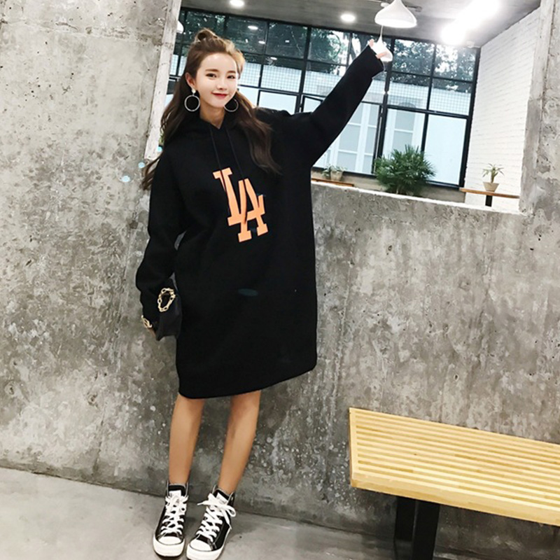 SYDanne Long Spring Autumn Dress 2019 Women Hoodies Sweatshirts Dress Casual Print Floral Plus Size Harajuku Jacket Coat