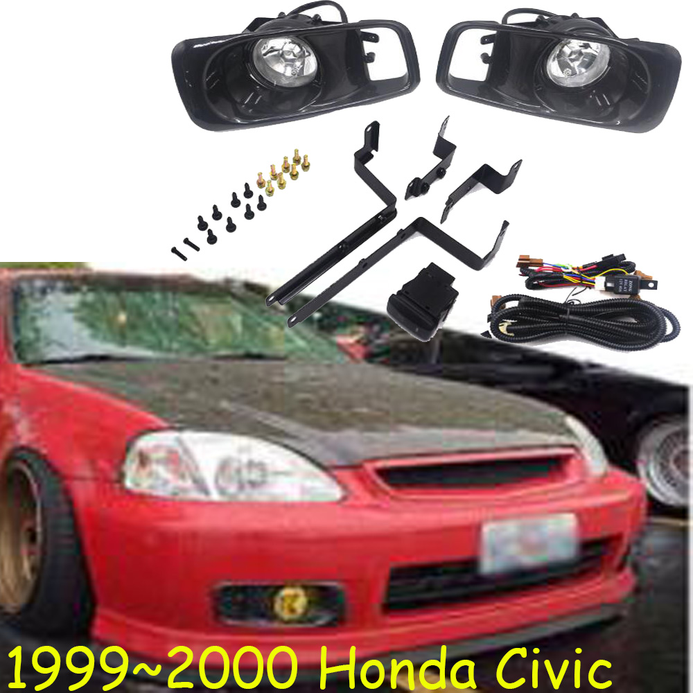 Car Bumper Headlight For Honda Civic Fog Light 1999~2000y Halogen Bulb 4300K Wire Hanress Headlamp For Civic Fog Lamp