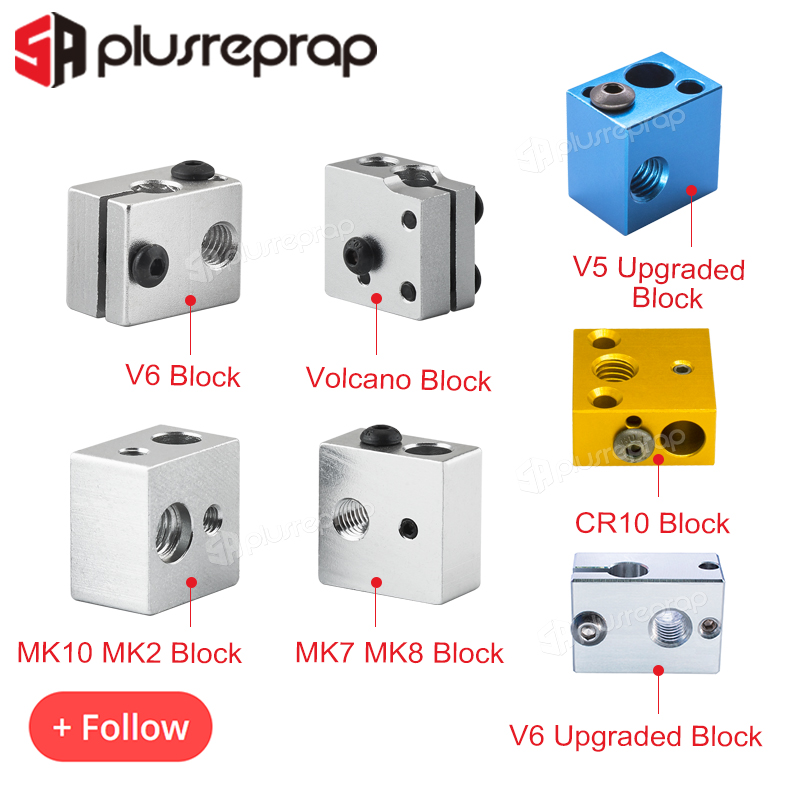 High Quality 3D Printer Accessories Heated Block MK7 MK8 MK10 V5 V6 Volcano CR10 For Print Head Extruder J-head Aluminum Block