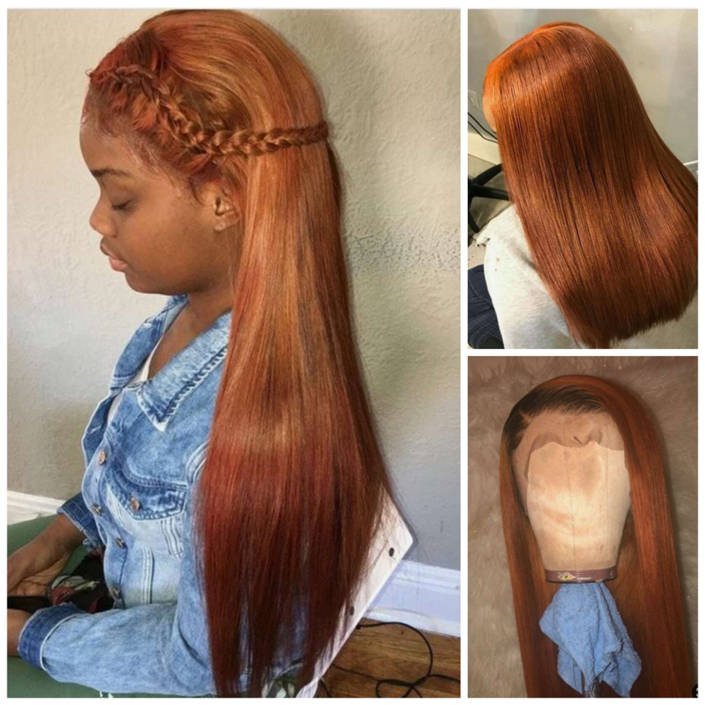 13×4 Lace Front Human Hair Wigs Straight Orange Brown Color 13X4 Lace Front Hair Wigs With Baby Hair PrePlucked Remy Hair