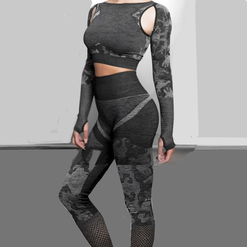 Leggings Workout-Pants Yoga-Set Camo-Suits Fitness Long-Sleeve Seamless Sport Women GYM