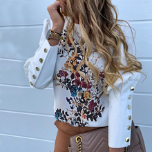 Floral Printed Puff Sleeve Shirts Letter Tops Metal Button Detail Fashion Casual
