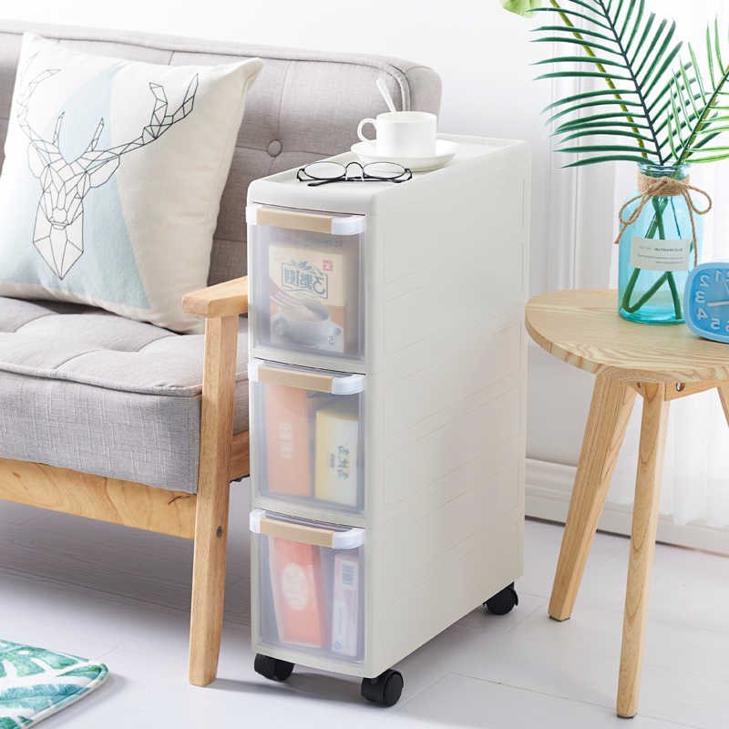 ญี่ปุ่น Movable พลาสติก 18 ซม.ตะเข็บห้องครัวห้องรับแขก Rack 2/3/4 ชั้นห้องน้ำลิ้นชักประเภทตู้ Locker รอก