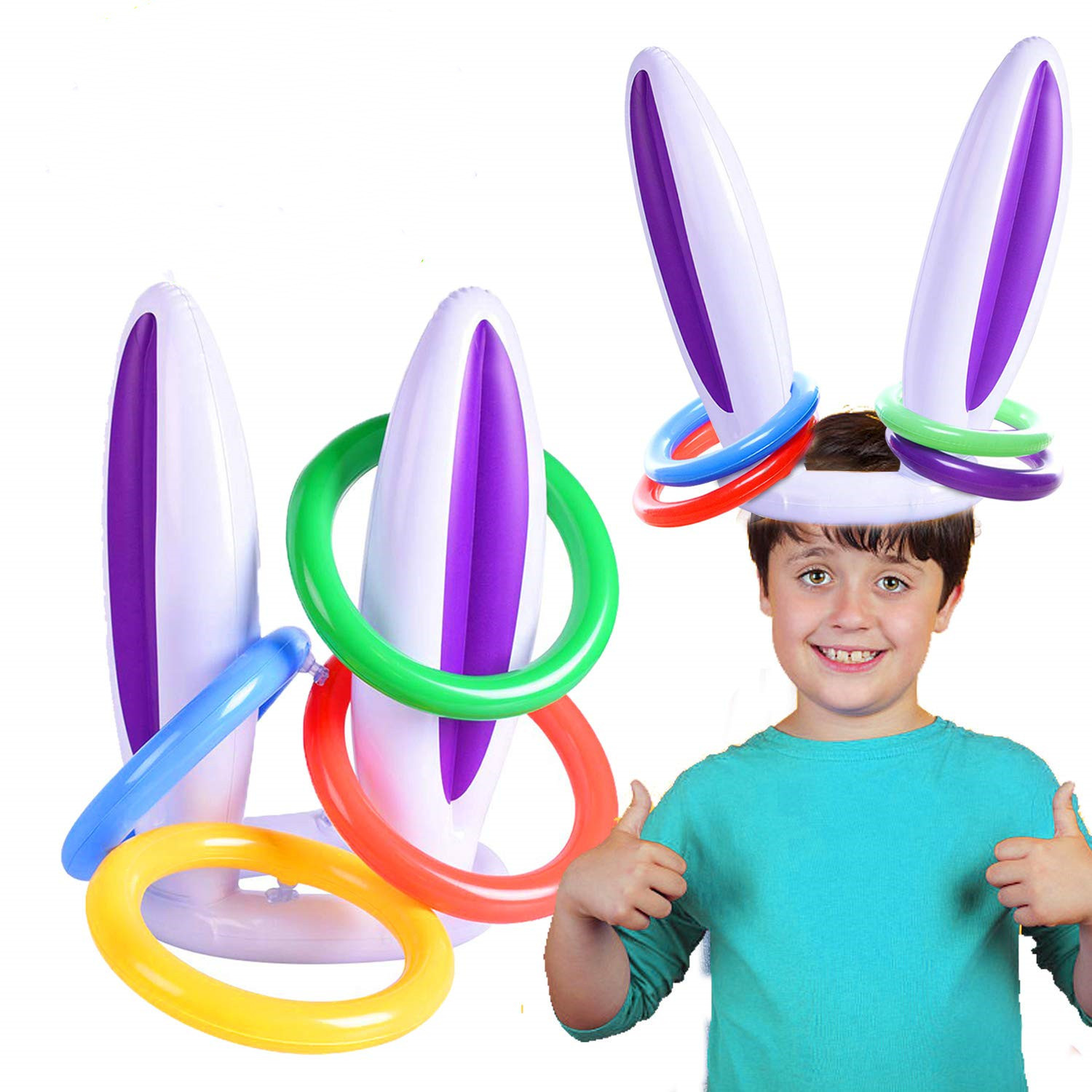 2019 PVC Easter Inflatable Rabbit Ear Hat Ring Toss Pool Toys Holiday Party Game Toys Christmas Decoration For Home Birthday