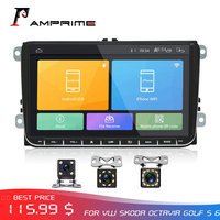 AMprime 9 Car radio Android GPS Navigation Multimedia Player Autoradio Stereo for Skoda Octavia golf 5 6 touran passat B6