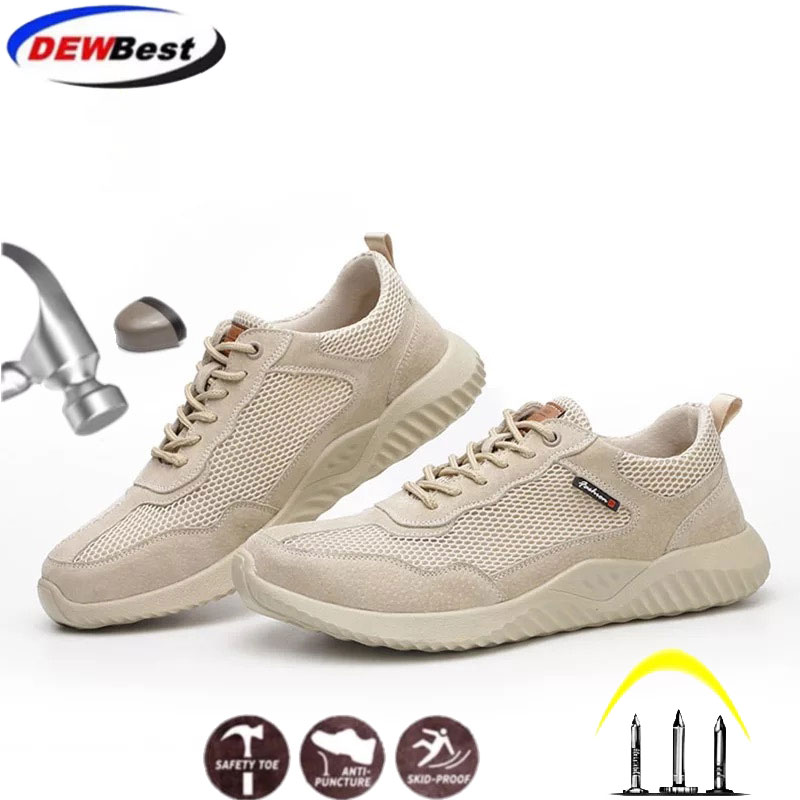 Summer Men's Work Safety Shoes Fashion Popular Comfortable Breathable Puncture Liner Steel Head Anti-skid Protective shoes