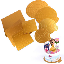 20PCS/SET Round/Square Mousse Cake Boards Gold Paper Cupcake Dessert Displays Tray Wedding Birthday Pastry Decorative Tool