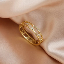 Cute Female Crystal Star Moon Jewelry Charm Gold Color Hollow Wedding Rings For Women Dainty Bride Zircon Engagement Thin Ring