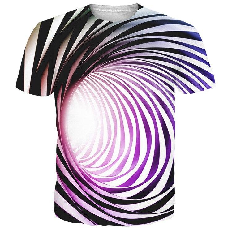 Летняя новая модная одежда 3D принт визуальная Иллюзия футболка гипнотическая вихревая трендовая Футболка мужская короткий рукав