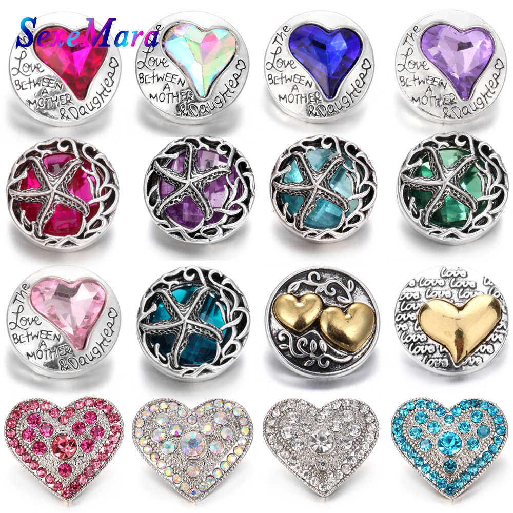 6pcs/lot New Snaps Jewelry High Quality Love Heart  18mm Metal Snap Buttons DIY Charms Button Jewerly