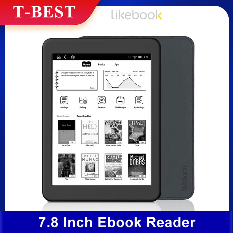 Likebook-lector de libros electrónicos Mars de 7,8 pulgadas, HD de 300PPI Ereader, 2G + 16G, ocho núcleos, con pantalla táctil de Carta, interfaz de 3,5mm, compatible con WiFi, BT 1