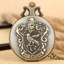 Винтажные карманные часы Ravenclaw с буквенным брелоком, изысканные бронзовые часы с подвеской для мужчин и женщин, ожерелье с цепочкой, reloj de ...