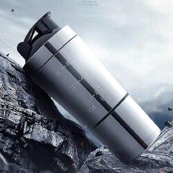 Zdejmowane białko serwatkowe w proszku Sport Fitness Shaker butelka do wody butelki ze stali nierdzewnej stalowy kubek mikser próżniowy Outdoor Drinkware w Shakery od Dom i ogród na