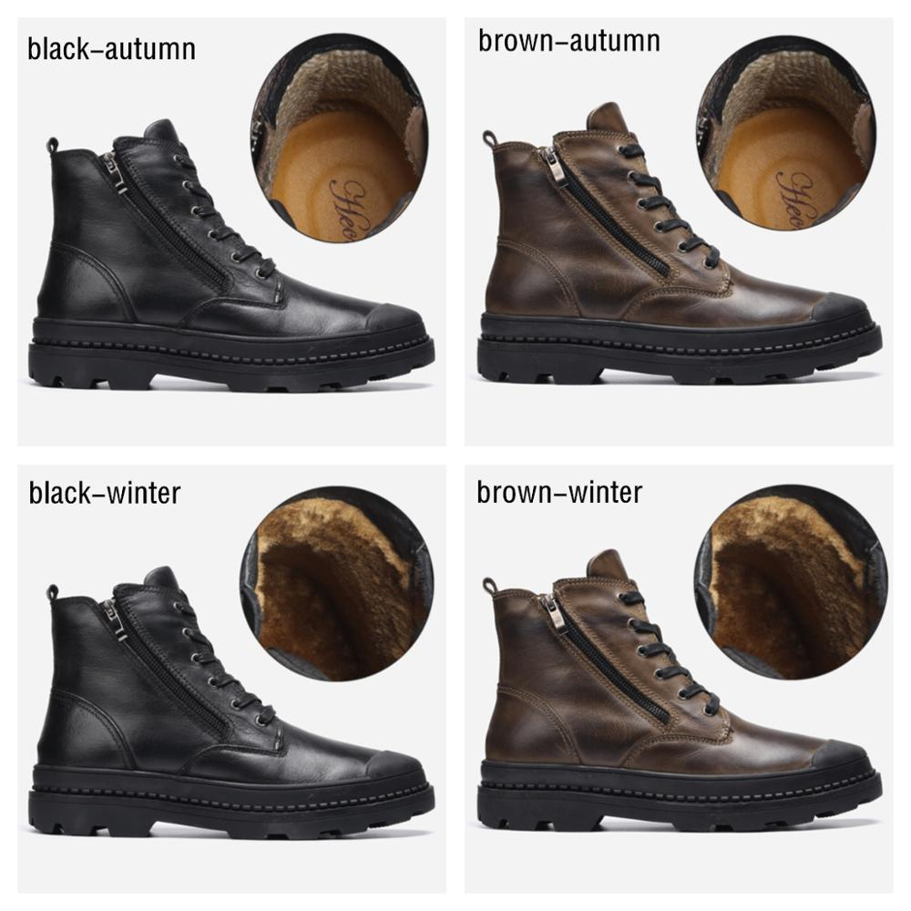 Natural Cow Leather Men Winter Boots Handmade Retro Men Boots Genuine Leather Men Winter Shoes #CX9550 5