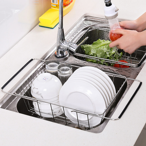 Image 4 - ステンレス鋼野菜ラック調整可能なシンクフルーツ収納ホルダー皿ホーム主催乾燥キッチン機能バスケット