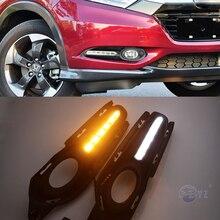Araba yanıp sönen 2 adet Honda HR V HRV Vezel 2014 2015 2016 2017 2018 DRL sis lambası gündüz farları sarı dönüş sinyali ile