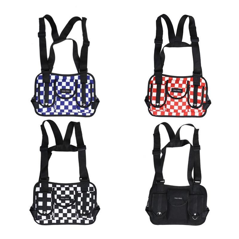 Hip Hop Lattice Waist Belt Pack Casual Women Men Sports Vest Chest Rig Bags