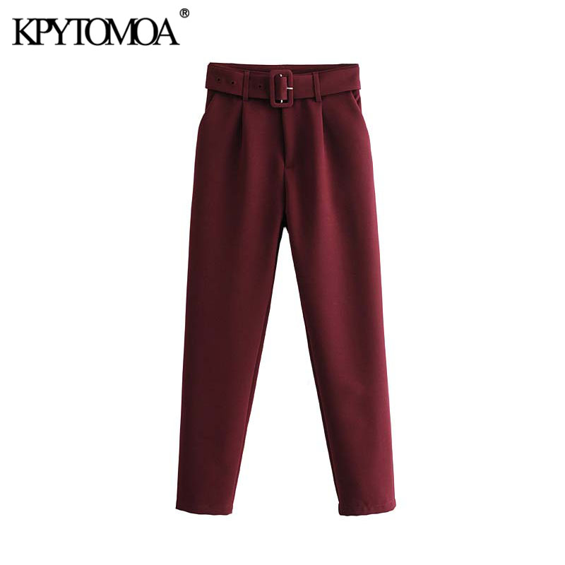Vintage Stylish Office Wear High Waisted Pants Women 2020 Fashion Zipper Fly With Belt Pockets Female Ankle Trousers Pantalones