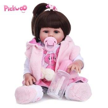 Pickwoo Baby reborn doll 48cm Baby Girl Doll Full Silicone Boneca Reborn Brinquedo Boneca Children's Day Gift Can Take Bath Doll