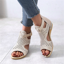 2020 fashion Crystal wedges shoes for women sandals sandalia