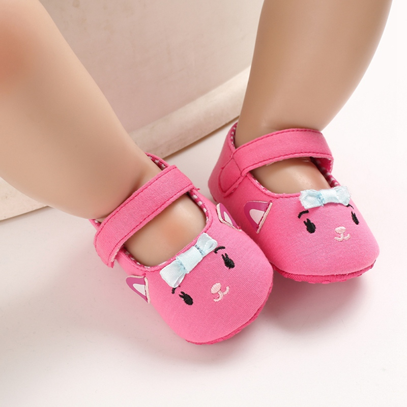 Cute Baby Girl Shoes First Walkers Shoes Cartoon Cat Newborn Footwear Toddler Shoes 0-24M