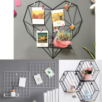 Nordic Style Metal Cords Photos Postcards Frame Display Art Storage Rack Holder Cafe Heart Wall Hanging Shelf Clips Home Decor 1
