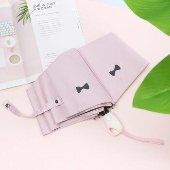 Mini Ultra Light 5 Fold Uv Protection Folding Umbrella Cute Black Coating Ladies Sun Umbrella Portable Pocket Rain Gear L