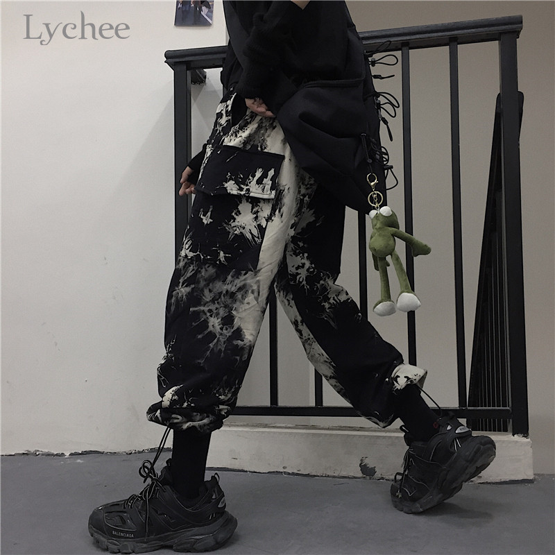 Lychee Harajuku Tie Dyeing Women Bottoms Pants Elastic Waist Loose Female Jogger Pants Trousers Casual Autumn Lady Cargo Pants