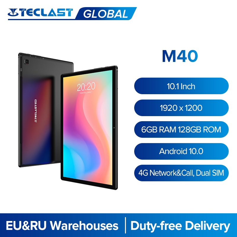 Teclast M40 10.1'' Tablet 1920x1200 IPS 6GB RAM 128GB ROM 4G Network Dual SIM Octa Core Tablets PC Android 10 Dual Wifi Type-C