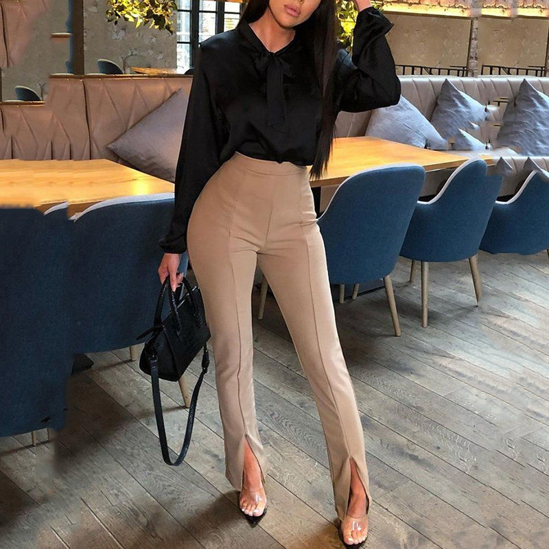 High Waist Pants Women Trousers Casual Office Lady Front Slit Elastic Waist Pencil Trousers Sexy Ladies Skinny Pants Workwear