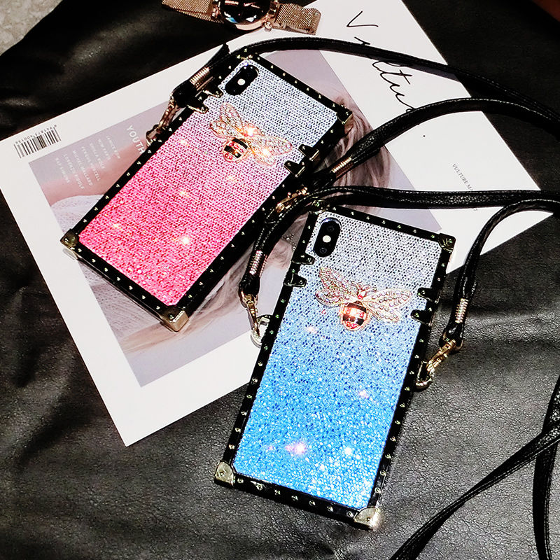 Gradient Crossbody lanyard <font><b>Case</b></font> for <font><b>Huawei</b></font> P30 <font><b>P20</b></font> Pro Luxury Bling Sequins <font><b>Diamond</b></font> Phone <font><b>Case</b></font> for <font><b>Huawei</b></font> P30 Girl Cover Fundas image
