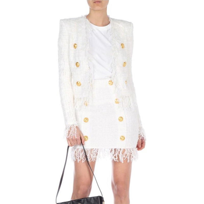 Quality Elegant European American White Tassel Skirt Suits Buttons Short Jacket Straight Short Skirt Slim Tweed Two Pieces Sets
