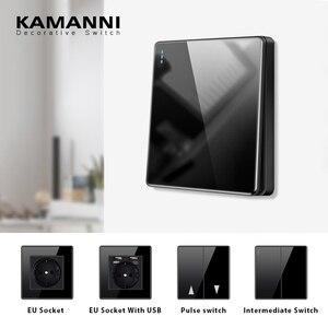 KAMANNI Luxury Light Switch General Standard Crystal Tempered Glass 2Gang 2 Way Switch Black Power Push Botton light Switch 220V
