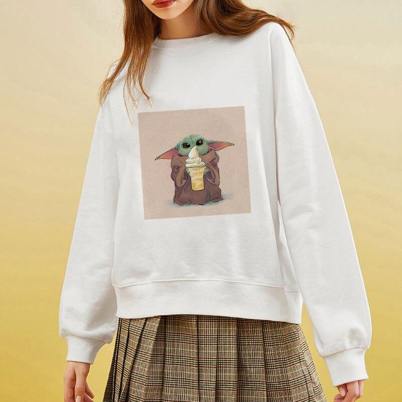 Showtly  Spring Autumn Harajuku Women's Sweatshirt Hooded Long Sleeve Hoodies Women Baby Yoda Printed Hoody Pullover Femme