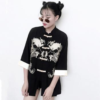 Tangsuit chińska stylowa koszula smok tradycyjna chińska odzież dla kobiet w stylu Vintage Party modna kurtka Wushu Hanfu haft tanie i dobre opinie Poliester Tkane WOMEN Chinese Style One Size Unisex Spring Summer Autumn Festival White Black Dragon Welcome