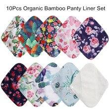 [Simfamily] 10 pçs reutilizáveis à prova dmenstruágua almofadas de fibra de bambu pano menstrual almofadas sanitárias feminino maternidade higiene calcinha forro