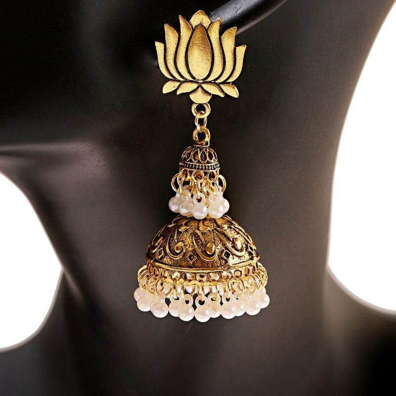 Купить 2020 ретро индийский золотой цвет цветок лотоса жемчужные серьги