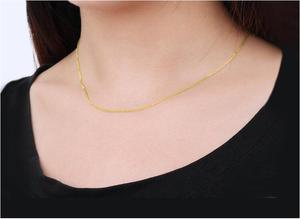 """Image 5 - 18K الصلبة الذهب رولو سلسلة قلادة للنساء 16 """"18"""" 20 مضمونة 18KT الذهب الخالص 1 مللي متر ربط قلادة لوبستر المشبك الإناث"""