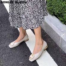 Fashion Flat Heel Shoes Women Flats Ballet Shoes Metal Round Buckle Female Shoes Slip On Autumn Ballerina  zapatos de mujer 2019 стоимость
