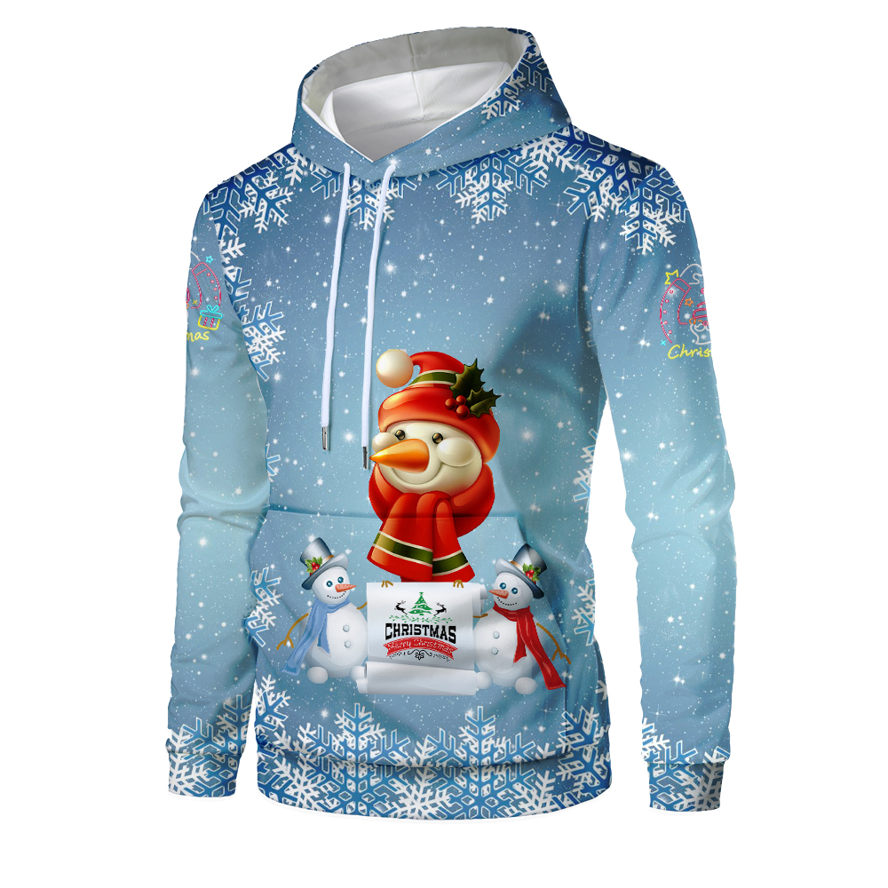 New Christmas Hoodies Men 3D Santa Claus And Snowman Trees Print Mens Hoodie Hip Hop Pullover Sweatshirt Homme Sudadera Hombre